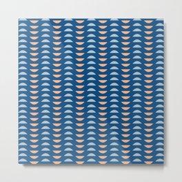 Minimalist Geometric Semi Circle Half Moon Shapes in Classic Blues and Muted Oranges Metal Print