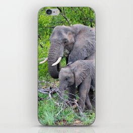 african elephant mother with baby iPhone Skin
