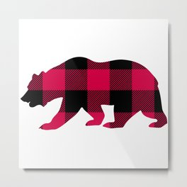 Buffalo Plaid Bear Metal Print