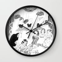 theatre Wall Clocks featuring theatre by mariana, a miserável(the miserable one)