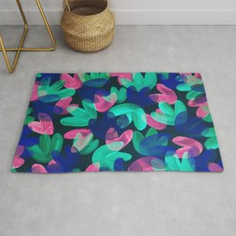 Vibrant Acrylic Painting Layered Tulips Floral Pattern Multi Colors Neon Pink Blue Green Party Vibe Rug
