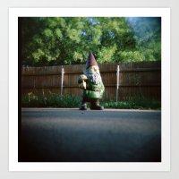 Backyard Gnome Art Print