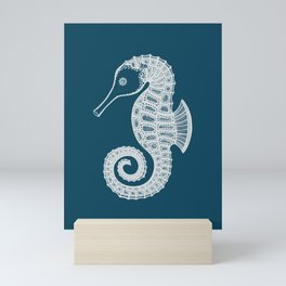 Seahorse Ink Art - cute and fun sea animal design - white on navy blue Mini Art Print