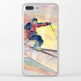 Colorful Skiing Art Clear iPhone Case