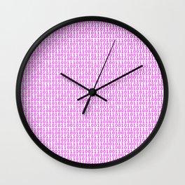 Binary Hot Pink Wall Clock