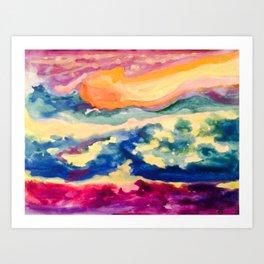 My Starry Watercolor Night Art Print