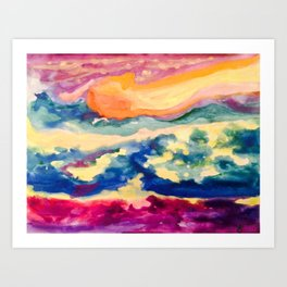 My Starry Watercolor Night Art Print
