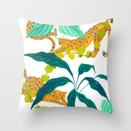 Leopards Playing among Plants Throw Pillow