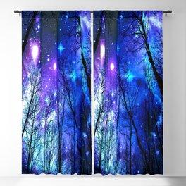 black trees purple blue space Blackout Curtain