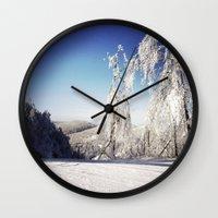 ski Wall Clocks featuring Ski  by David Nadeau