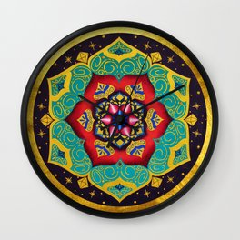 Connection with the universe / Mandala by Ilse Quezada Wall Clock