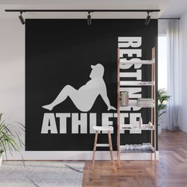 Resting athlete funny logo Wall Mural