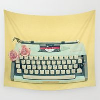 typewriter Wall Tapestries featuring The Typewriter by Cassia Beck