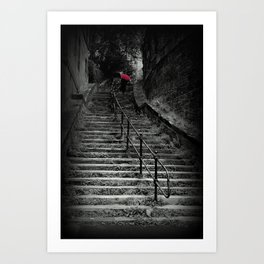 Lady Climbing Steps with Red Umbrella  Art Print