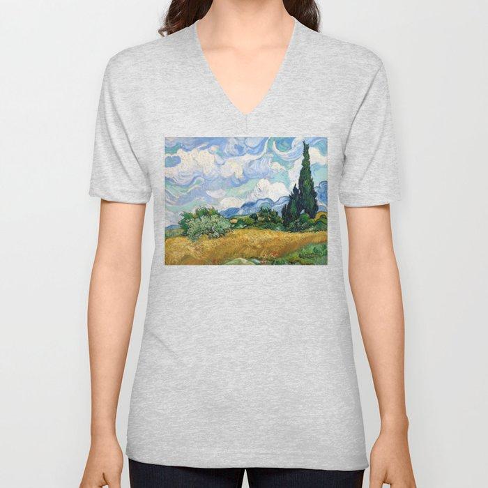 Wheat Field with Cypresses by Vincent van Gogh Unisex V-Ausschnitt