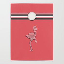 Flamingo Pink Argyle Stripes Pattern Animal Design Poster
