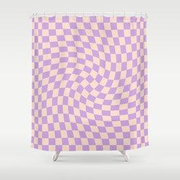 Check V - Lilac Twist — Checkerboard Print Shower Curtain