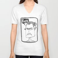 selfie V-neck T-shirts featuring Selfie by Lisa Hammar