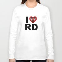 roller derby Long Sleeve T-shirts featuring I heart roller derby by Andrew Mark Hunter