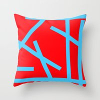 panic at the disco Throw Pillows featuring PANIC by Naked N Pieces