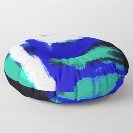 blue green and white painting texture with black background Floor Pillow