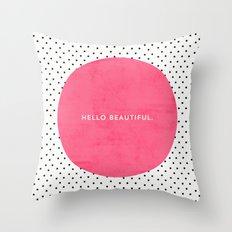 PINK HELLO BEAUTIFUL - POLKA DOTS Throw Pillow