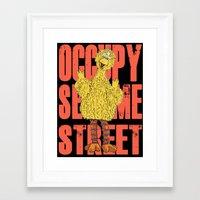 sesame street Framed Art Prints featuring OCCUPY SESAME STREET by perilpress