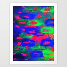 NIGHT LIFE - Bold Neon Abstract Watercolor Painting Wild Hot Pink Royal Blue Whimsical Pattern Art Print