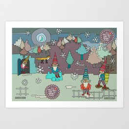 It's Christmas Time for Gnomes People Art Print