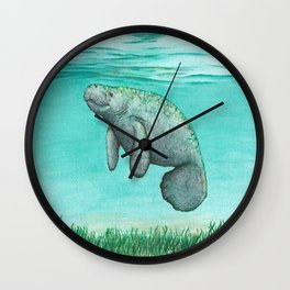 """Mossy Manatee"" by Amber Marine ~ Watercolor & Ink Painting, (Copyright 2016) Wall Clock"