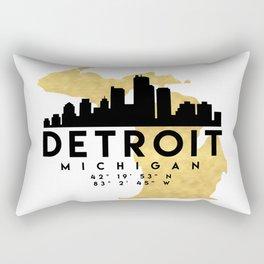 DETROIT MICHIGAN SILHOUETTE SKYLINE MAP ART Rectangular Pillow