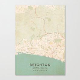 Brighton, United Kingdom - Vintage Map Canvas Print