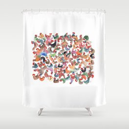 Chicken mess Shower Curtain