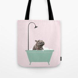 Hippo Enjoying Bubble Bath Tote Bag
