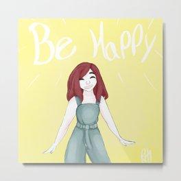 Mini Motivational Me! - Be Happy Metal Print