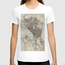 Vintage Map of Seattle Washington (1908) T-shirt