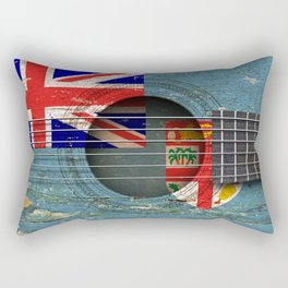Old Vintage Acoustic Guitar with Fiji Flag Rectangular Pillow