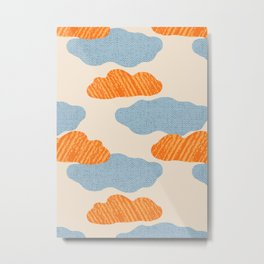 Textured Clouds on Buttercream Background Metal Print