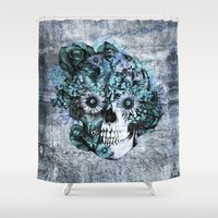 ohm Shower Curtains featuring Blue grunge ohm skull by Kristy Patterson Design