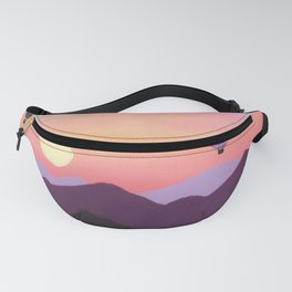 Hot Air Balloons over Mountains at Sunset Fanny Pack