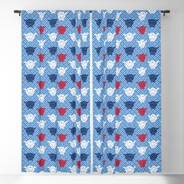 Japanese Rabbit Print, Blue, White and Deep Red Blackout Curtain