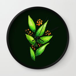 Abstract Watercolor Green Plant With Orange Berries Wall Clock