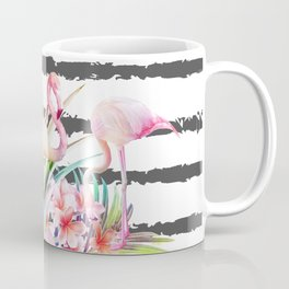 Tropical floral leaves and flamingos stripes Coffee Mug