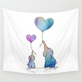 Colorful Watercolor Elephants Love Wall Tapestry