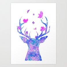 Flying Amongst the Antlers  Art Print