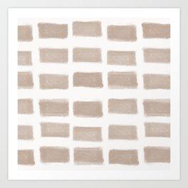 Brush Strokes Horizontal Lines Nude on Off White Art Print