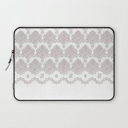 Off-White Damask Chenille with Lace Edge Laptop Sleeve