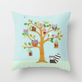 Happy Tree with cute Owls and polka dots Throw Pillow
