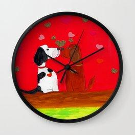 Valentine Kissing Dogs Wall Clock
