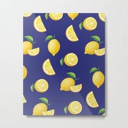 Lemons on Navy Metal Print